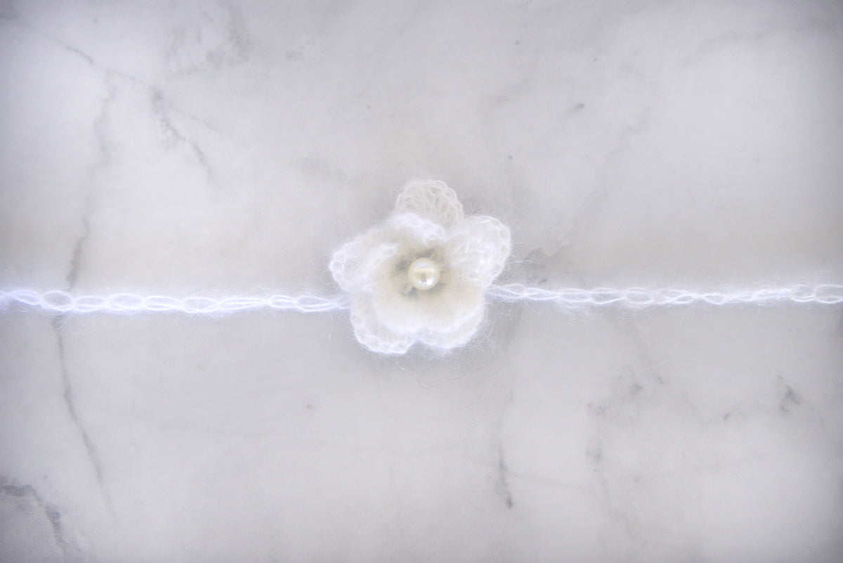 Mohair Flower Headband - White