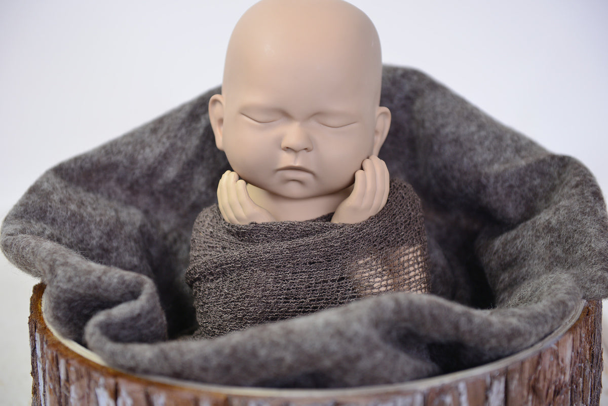 Wool Wrap - Dark Brown-Newborn Photography Props