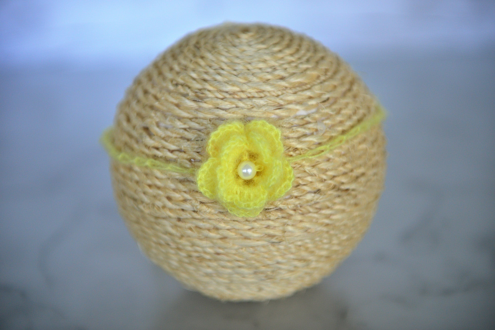 Mohair Flower Headband - Yellow