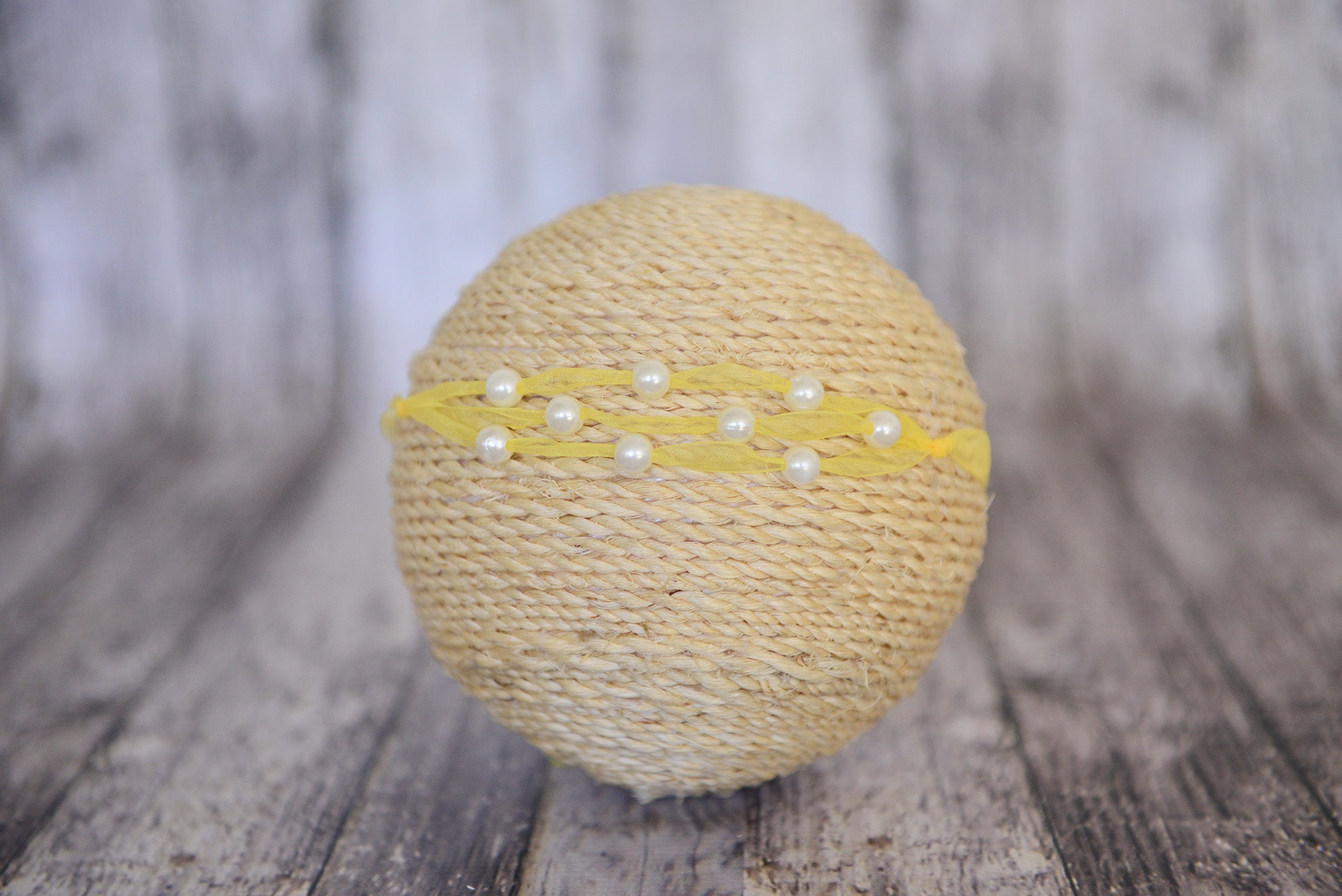 Beaded Ribbon Headband - Yellow