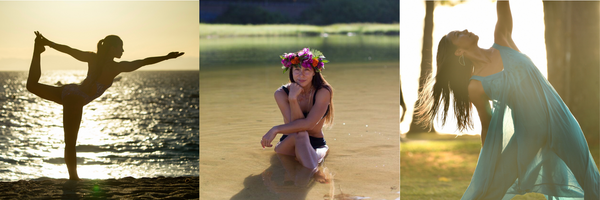 Honua Pua Collection images - woman doing yoga, wearing floral crown
