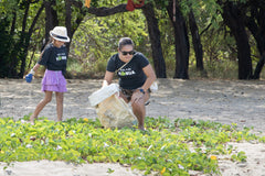 beach cleanup and picking up trash