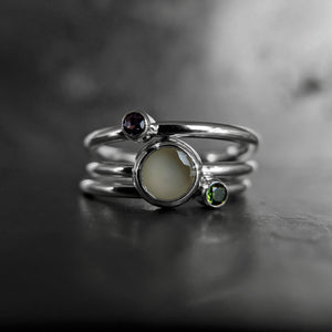 Premium Collection: Petite Round Keepsake Ring with Birthstone Stackers