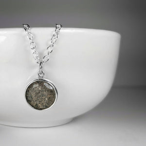Heirloom Round Faceted Memorial Necklace in Silver + Gold