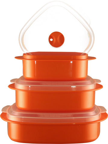 Calypso Basics 6-Piece Microwave Cookware, Storage Set, Orange