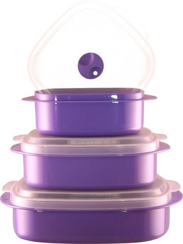 Calypso Basics 6-Piece Microwave Cookware, Storage Set, Purple