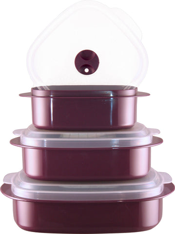 Calypso Basics 6-Piece Microwave Cookware, Storage Set, Plum
