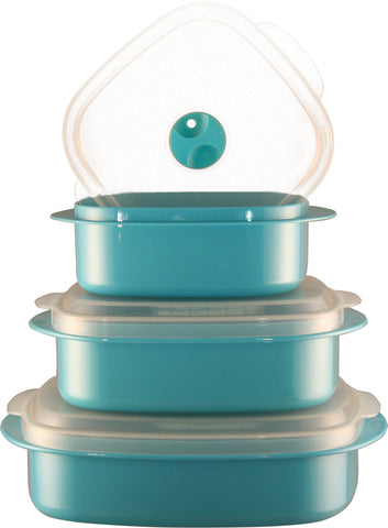 Calypso Basics 6-Piece Microwave Cookware, Storage Set, Turquoise