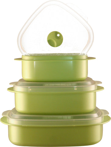 Calypso Basics 6-Piece Microwave Cookware, Storage Set, Lime