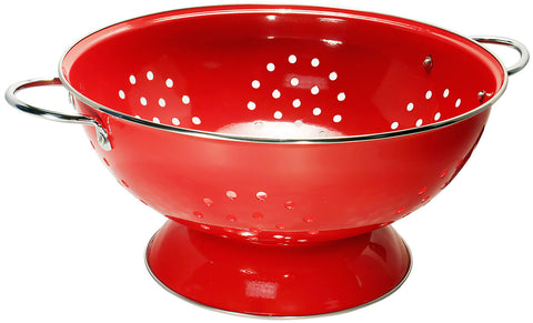 Red Colander Strainer 7 Qts Stainless Dishwasher Safe