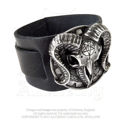 A102 - Gears of Aiwass Alistair Crowley Leather Wrist Strap by Alchemy of England