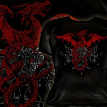 BTS276 - Draco Rosa Red Dragon Jrs Cotton Shirt Size M by Alchemy of England - Rare