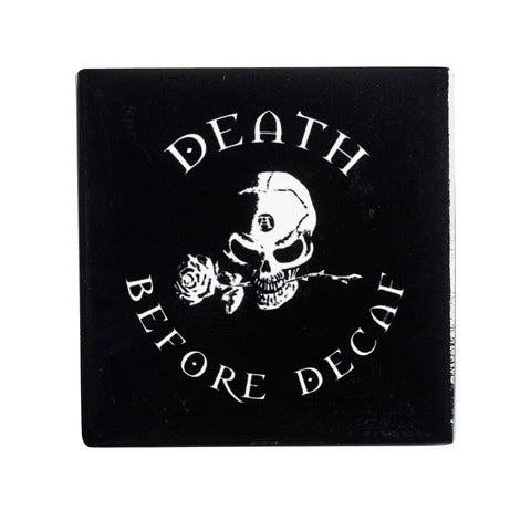 CC7 - Death Before Decaf Ceramic Coaster Set by Alchemy of England