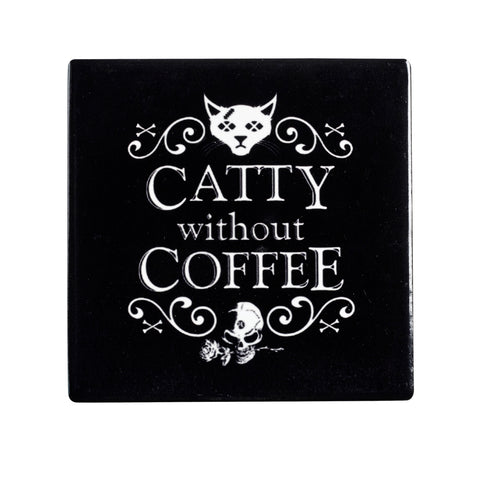 CC8 - Catty Without Coffee Ceramic Coaster Set By Alchemy of England