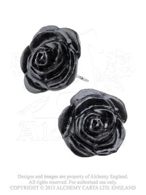 E339 - Black Rose Stud Earrings by Alchemy of England