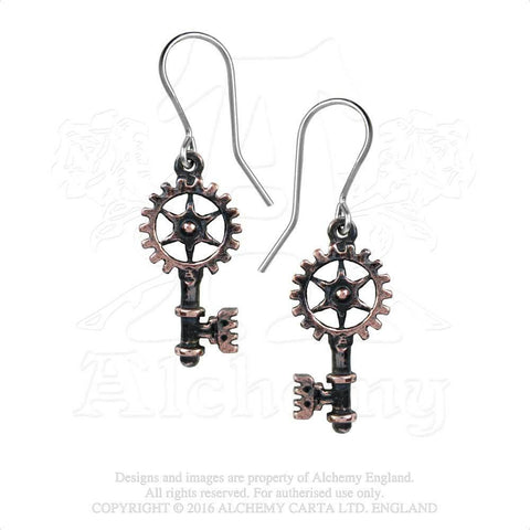 E377 - Clavitraction Steampunk Earrings by Alchemy of England - New