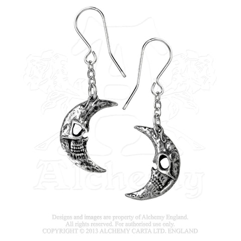 E385 - Crescens Tragicom Moon Earrings by Alchemy of England