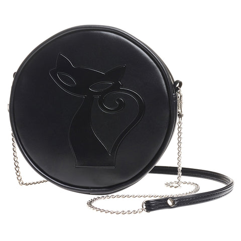 GB8 - Black Cat Leather Bag by Alchemy of England - New
