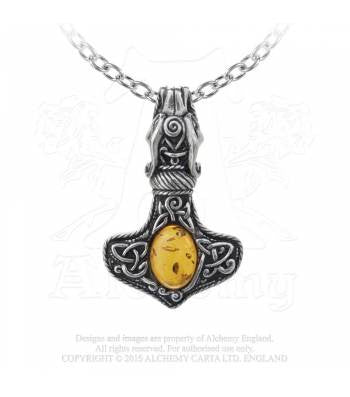 P728 - Amber Dragon Thorhammer Pendant by Alchemy of England
