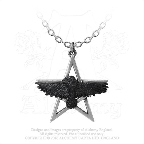 P760 - Ghost-seer Pentagram Raven Pendant by Alchemy of England - New