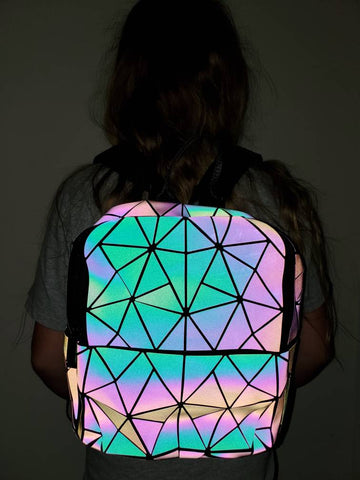 Holographic Geometric Color Changing Backpack