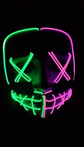 Purge Halloween Double Color Neon Glow Mask