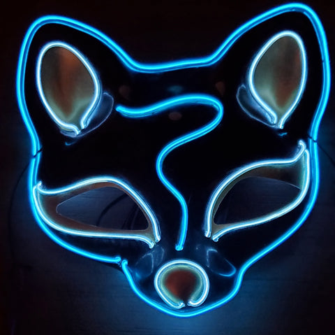Neon Blue Cosplay Cat Mask