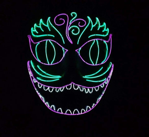Mardi Gras Chesire Cat LED Glow Mask