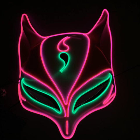 Neon Glow LED Rave Cat Mask