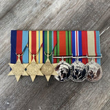 Cased WW2 Africa / Pacific / Defence Service Group-Popular Medal Groups-Foxhole Medals