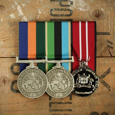 Double OSM / Service Trio-Popular Medal Groups-Foxhole Medals