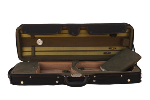 green lightweight violin case with hygrometer