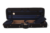 blue lightweight violin case with hygrometer