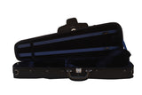 blue shaped suspension violin case
