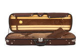 brown violin case with hygrometer