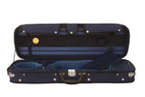 blue violin case with hygrometer