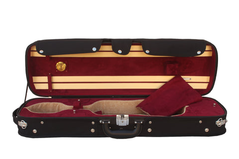 red violin case with hygrometer