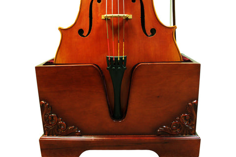wooden cello stand with decoration