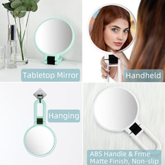 10x Magnification Travel Makeup Mirror with Stand,Suspended Makeup Mirror,Hand Mirrors with Handle Double Side,Travel Folding Hand Held Mirror