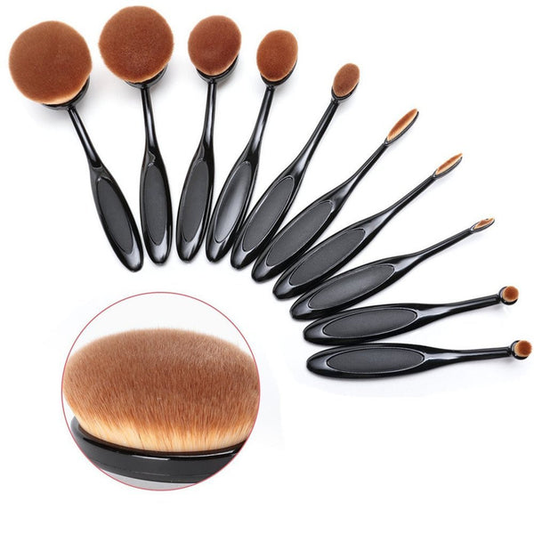 Oval Makeup Brushes in Black - Dolovemk Beauty