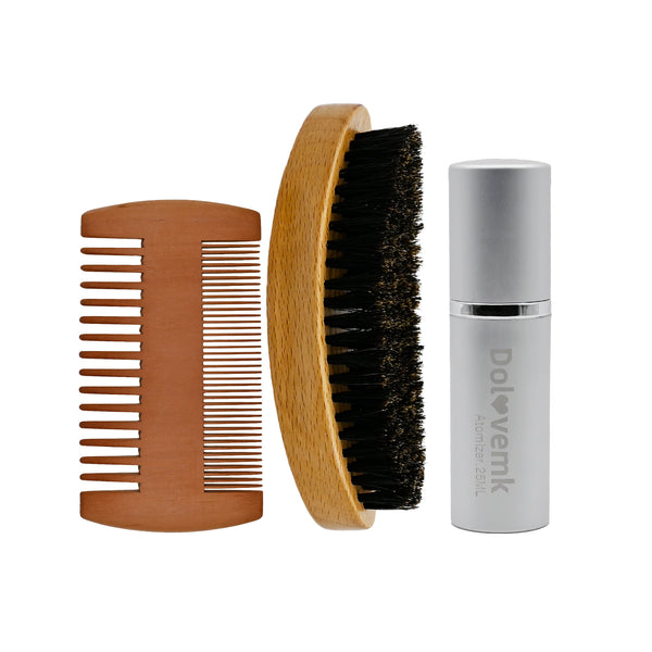 Beard Brush & Beard Comb Men Care  Natural Boar Bristle Brush and Walnut Wood Pocket Comb-with Velvet Travel Pouch and aftershaves spray bottle Great Male Gift Idea