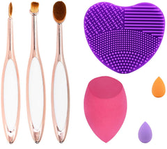 Oval Nose Contour Brushes Set Beauty Sponge Blender with Cleaner - Dolovemk Beauty