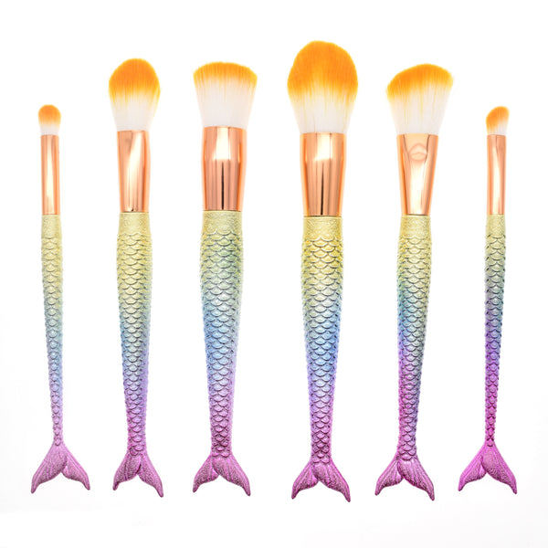 6Pcs Purple Mermaid Brushes