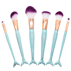6Pcs Blue Mermaid Brushes - Dolovemk Beauty