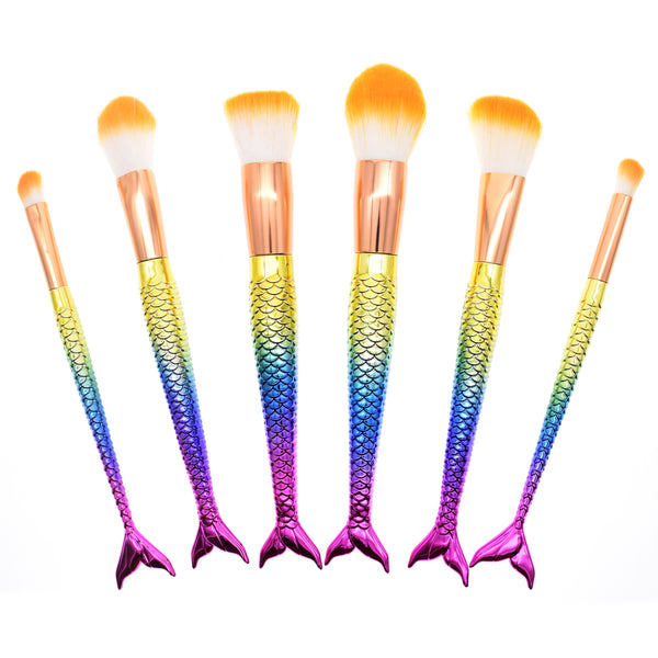 6Pcs Aqua Mermaid Brushes - Dolovemk Beauty
