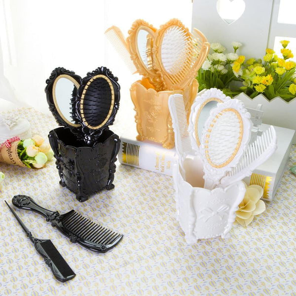 Cosmetic Hair Combs Brush + Mirror | Set of 5 - Dolovemk Beauty