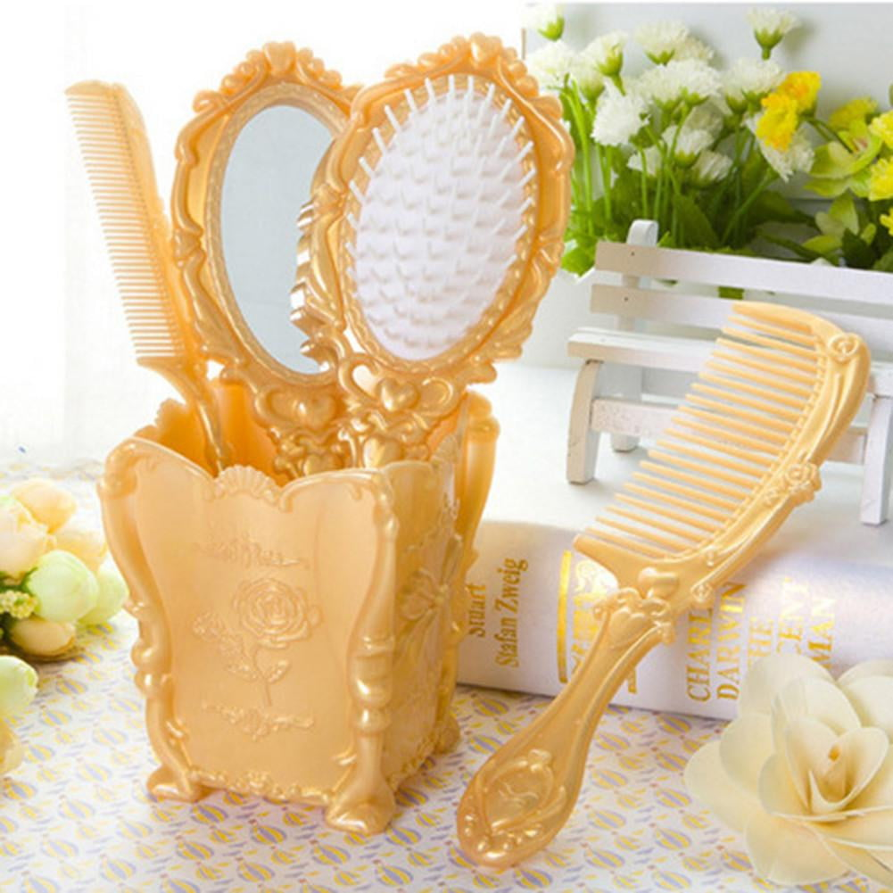 Cosmetic Hair Combs Brush + Mirror | Set of 5