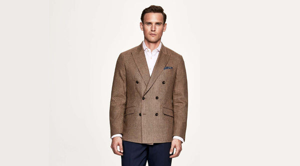 Hackett Glen Check Linen, Wool & Cashmere Double Breasted Blazer