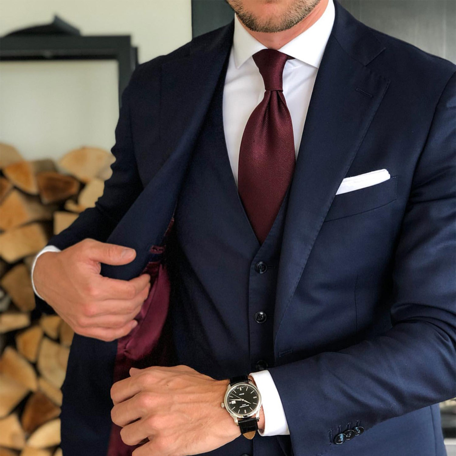 Burgundy Tie with Navy Suit Artworth Brothers