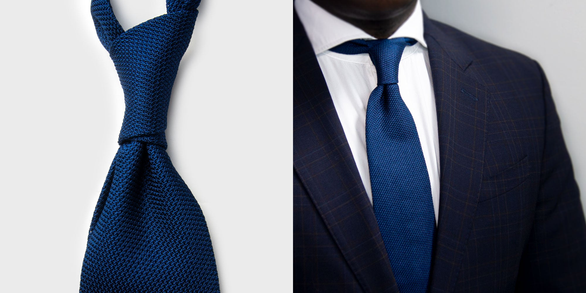 Aklasu French Blue Grenadine Tie with white shirt and patterned dark blue suit